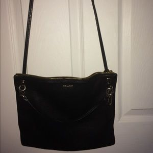Coach black leather small crossbody shoulder bag